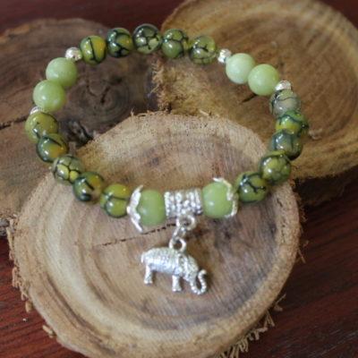 Bracelet Agate veine de Dragon et Jade Vert