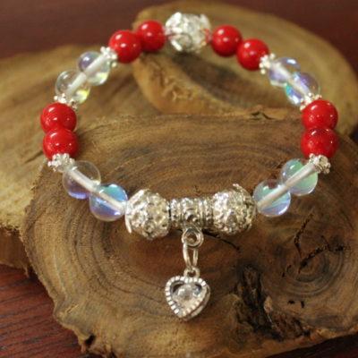 Bracelet Jade Rouge et Pierre de Lune